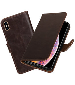 Hoesje voor iPhone XS Max Pull-Up Booktype Mocca