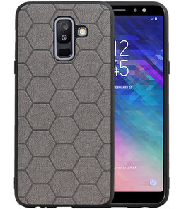 Hexagon Hard Case voor Samsung Galaxy A6 Plus 2018 Grijs