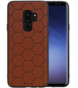 Hexagon Hard Case voor Samsung Galaxy S9 Plus Bruin