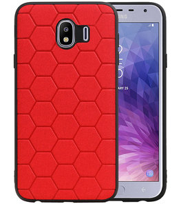Hexagon Hard Case voor Samsung Galaxy J4 Rood