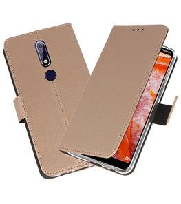 Wallet Cases Hoesje voor Nokia 3.1 Plus Goud