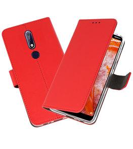 Wallet Cases Hoesje voor Nokia 3.1 Plus Rood