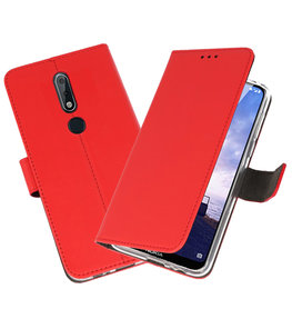 Wallet Cases Hoesje voor Nokia X6 6.1 Plus Rood