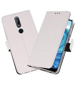 Wallet Cases Hoesje voor Nokia X5 5.1 Plus Wit