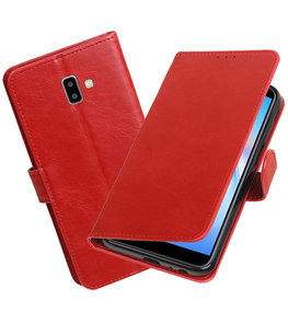 Hoesje voor Samsung Galaxy J6 Plus Pull-Up Booktype Rood