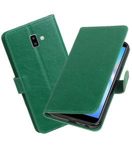 Hoesje voor Samsung Galaxy J6 Plus Pull-Up Booktype Groen