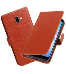 Hoesje voor Samsung Galaxy J6 Plus Pull-Up Booktype Bruin