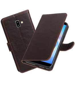 Hoesje voor Samsung Galaxy J6 Plus Pull-Up Booktype Mocca