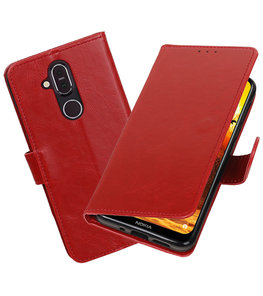 Hoesje voor Nokia 8.1 Pull-Up Booktype Rood