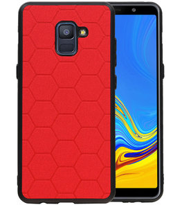 Hexagon Hard Case voor Samsung Galaxy A8 Plus 2018 Rood