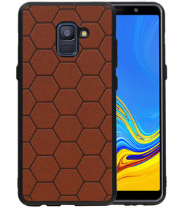 Hexagon Hard Case voor Samsung Galaxy A8 Plus 2018 Bruin