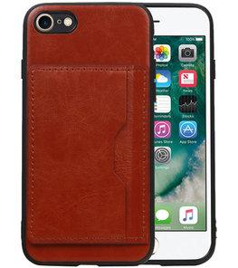 Staand Back Cover 1 Pasjes voor iPhone 8 / 7 Bruin