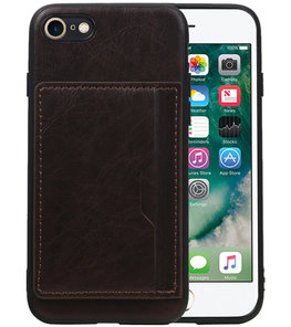 Staand Back Cover 1 Pasjes voor iPhone 8 / 7 Mocca