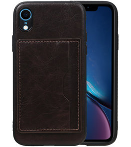 Staand Back Cover 1 Pasjes voor iPhone XR Mocca