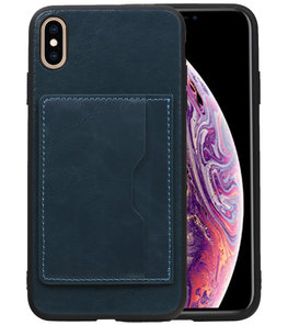 Staand Back Cover 1 Pasjes voor iPhone XS Max Navy