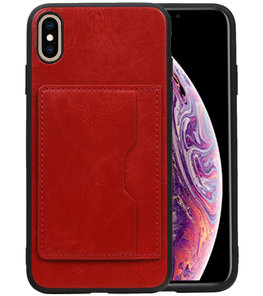 Staand Back Cover 1 Pasjes voor iPhone XS Max Rood