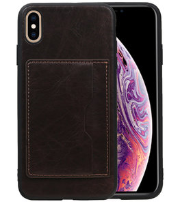 Staand Back Cover 1 Pasjes voor iPhone XS Max Mocca