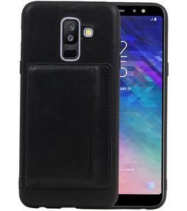 Staand Back Cover 1 Pasjes voor Galaxy A6 Plus 2018 Zwart
