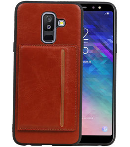 Staand Back Cover 1 Pasjes voor Galaxy A6 Plus 2018 Bruin