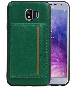 Staand Back Cover 1 Pasjes voor Galaxy J4 Groen