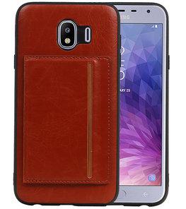 Staand Back Cover 1 Pasjes voor Galaxy J4 Bruin