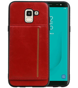 Staand Back Cover 1 Pasjes voor Galaxy J6 Rood