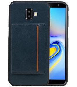 Staand Back Cover 1 Pasjes voor Galaxy J6 Plus Navy