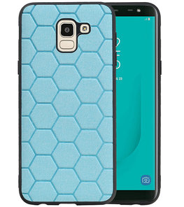 Hexagon Hard Case voor Samsung Galaxy J6 Blauw