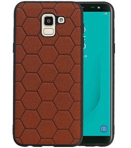 Hexagon Hard Case voor Samsung Galaxy J6 Bruin