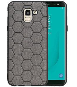 Hexagon Hard Case voor Samsung Galaxy J6 Grijs