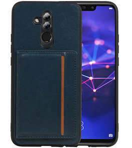 Staand Back Cover 1 Pasjes voor Huawei Mate 20 Lite Navy