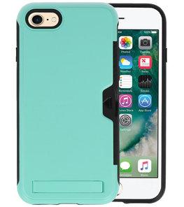 Turquoise Tough Armor Kaarthouder Stand Hoesje voor iPhone 7 / 8