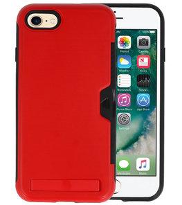 Rood Tough Armor Kaarthouder Stand Hoesje voor iPhone 7 / 8