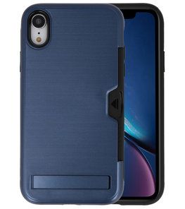 Navy Tough Armor Kaarthouder Stand Hoesje voor iPhone XR