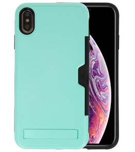 Turquoise Tough Armor Kaarthouder Stand Hoesje voor iPhone XS Max