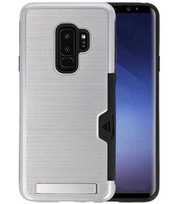 Zilver Tough Armor Kaarthouder Stand Hoesje voor Samsung Galaxy S9 Plus