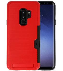 Rood Tough Armor Kaarthouder Stand Hoesje voor Samsung Galaxy S9 Plus