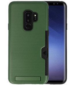 Donker Groen Tough Armor Kaarthouder Stand Hoesje voor Samsung Galaxy S9 Plus
