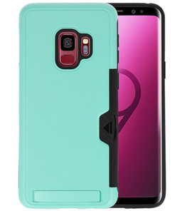 Turquoise Tough Armor Kaarthouder Stand Hoesje voor Samsung Galaxy S9