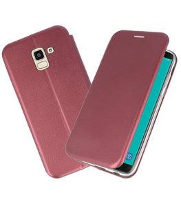 Slim Folio Case voor Galaxy J6 2018 Bordeaux Rood