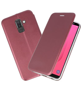 Slim Folio Case voor Galaxy J8 2018 Bordeaux Rood