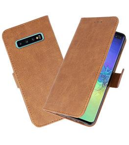 Bookstyle Wallet Cases Hoesje voor Samsung Galaxy S10 Plus Bruin
