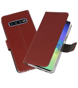 Wallet Cases Hoesje voor Samsung Galaxy S10 Plus Bruin