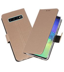 Wallet Cases Hoesje voor Samsung Galaxy S10 Plus Goud