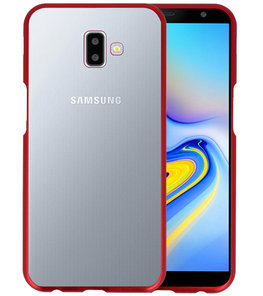 Magnetic Back Cover voor Galaxy J6 Plus Rood - Transparant