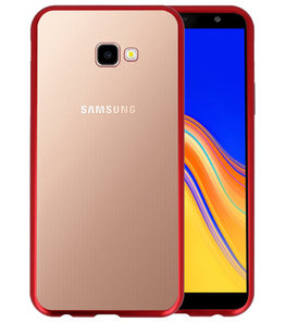 Magnetic Back Cover voor Galaxy J4 Plus Rood - Transparant