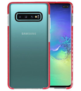 Armor TPU Hoesje voor Samsung Galaxy S10 Plus Transparant / Rood