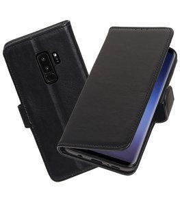 Echt Lederen Hoesje Wallet Case voor Samsung Galaxy S9 Plus Zwart