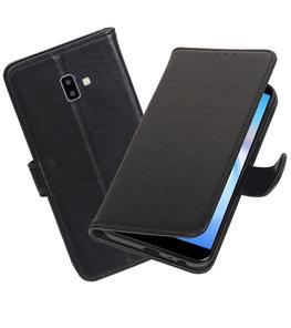 Echt Lederen Hoesje Wallet Case voor Samsung Galaxy J6 Plus (2018) Zwart