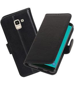 Echt Lederen Hoesje Wallet Case voor Samsung Galaxy J6 (2018) Zwart